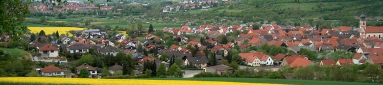 Blick auf Dittigheim im Taubertal